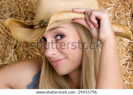 Pretty Cowgirl - stock photo