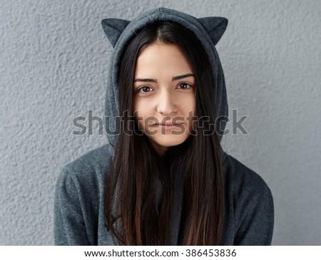 Pretty cute  teenage girl looking at  camera - stock photo