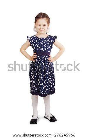 Pretty cute young girl wearing the dark blue dress - stock photo
