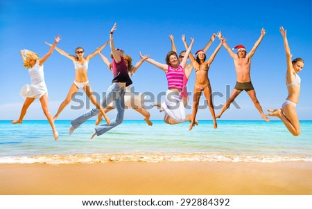 Pretty Dancers Summer Exercise  - stock photo