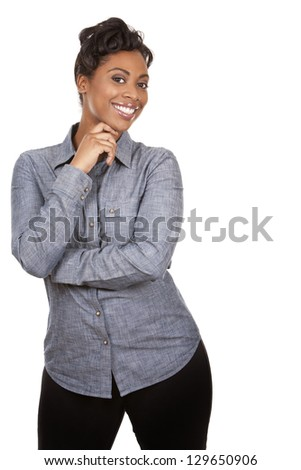 pretty dark woman wearing casual outfit on white background