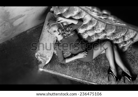Pretty elegant woman looking at camera. Fashion photo. Vintage styled photo. - stock photo