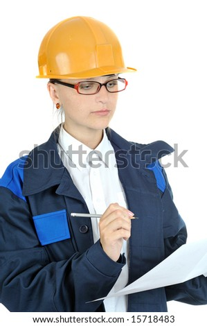 pretty engineering woman, isolated on white - stock photo