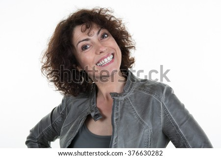pretty excited woman happy smile,  looking at camera toothy smiling isolated over white background - stock photo