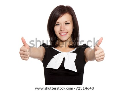 pretty excited woman happy smile show thumb up gesture at you, young girl wear black dress with white bow, isolated over white background - stock photo