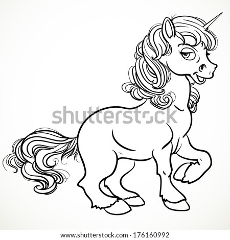 Pretty fabulous unicorn black outline for coloring - stock photo