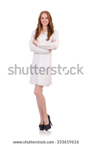 Pretty female doctor isolated on white - stock photo