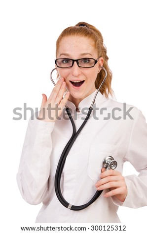 Pretty female doctor with stethoscope isolated on white - stock photo