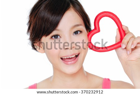 Pretty female face of a beauty asian  - stock photo