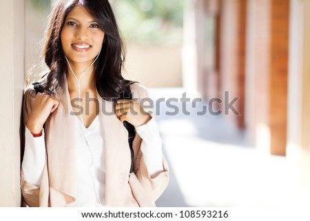 pretty female university student closeup portrait - stock photo