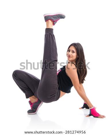 Pretty fitness female posing - stock photo