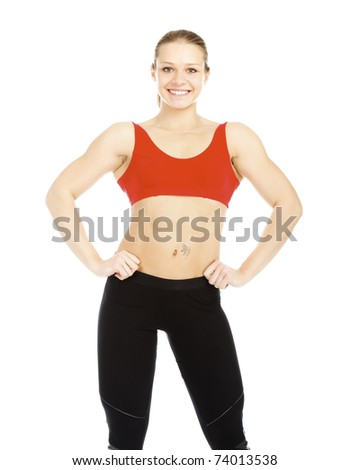 Pretty fitness instructor posing against white background.