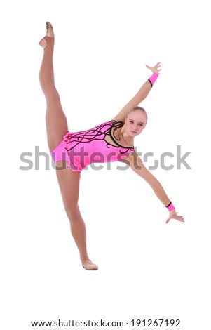 One caucasian woman exercising rhythmic gymnastics with ribbon in - 301 Moved Permanently