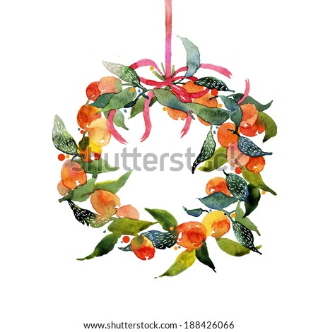 Pretty floral and fruity wreath/holiday design element - stock photo