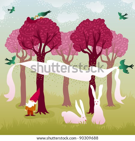 Pretty forest landscape with pink trees, nesting and flying love birds, a couple of easter bunnies and garden gnome - stock photo
