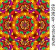 Pretty fractal kaleidoscope in festive party colors. - stock photo