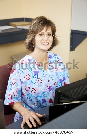 Pretty, friendly receptionist in a doctors office.