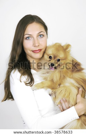 Pretty girl and her dog