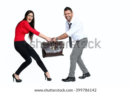 Pretty girl and man holding suitcases isolated on white