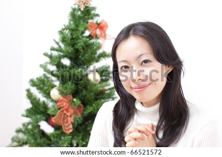 pretty girl at Christmas - stock photo