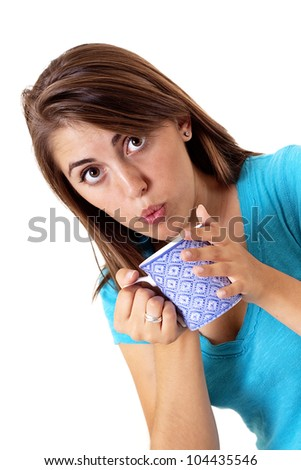 pretty girl blowing on her hot cup of coffee or tea