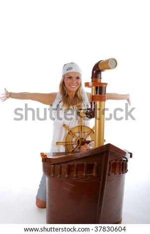 Pretty girl - captain over white - stock photo