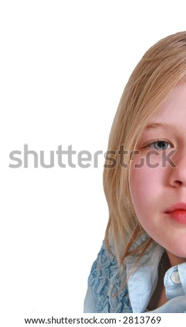 pretty girl close up of face with lots of copy space. - stock photo