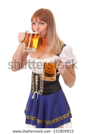 Pretty girl drinking beer - stock photo
