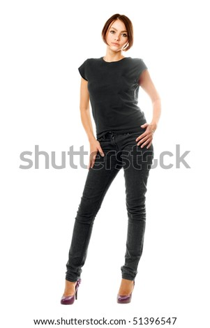 Pretty girl in a grey jeans. Isolated - stock photo