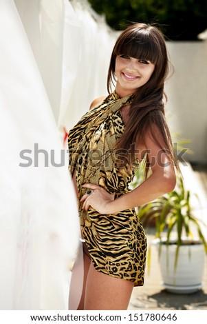 Pretty girl in bikini, outdoor shooting - stock photo