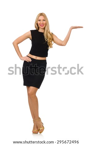 Pretty girl in black mini dress isolated on white - stock photo