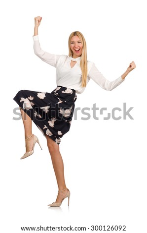 Pretty girl in black skirt with flowers isolated on white - stock photo