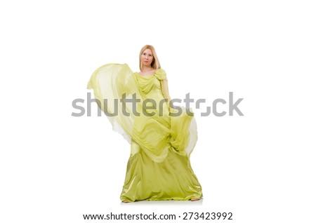 Pretty girl in elegant green dress isolated on white - stock photo