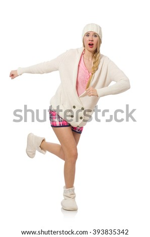 Pretty girl in pink jacket isolated on white - stock photo