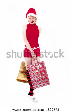 pretty girl in red and wear with gifts on white