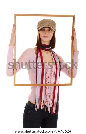 Pretty girl in the big frame and cap - stock photo