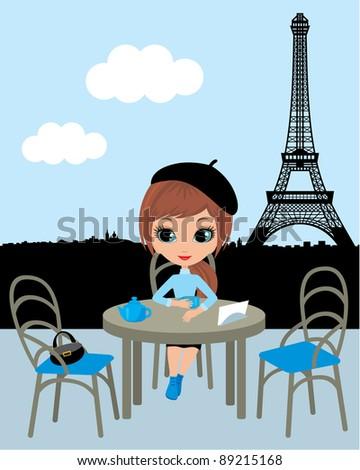 Pretty girl in the Parisian cafe.Raster illustration - stock photo