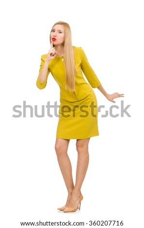 Pretty girl in yellow dress isolated on white - stock photo