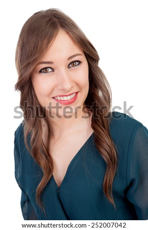 Pretty girl make up with brown eyes and elegant clothes isolated on a white background - stock photo