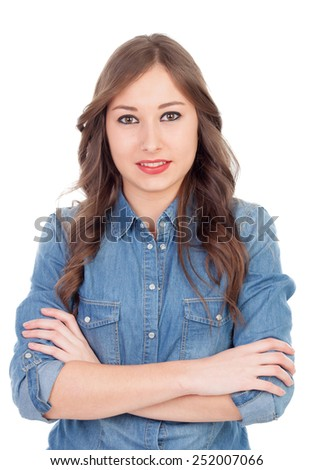 Pretty girl make up with brown eyes isolated on a white background