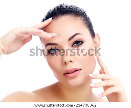 Pretty girl posing on white background  - stock photo