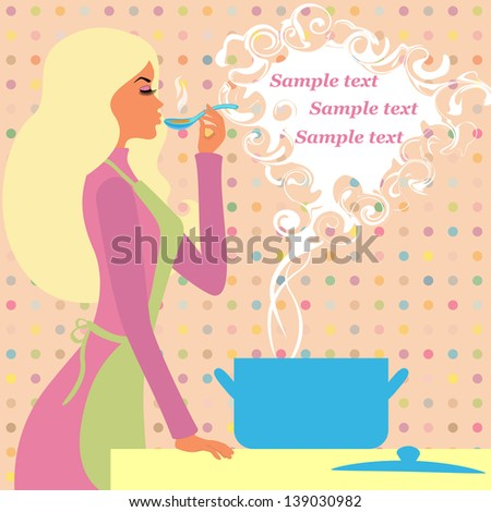 Pretty girl prepares food - a picture with space for your text. raster version, vector file also included - stock photo