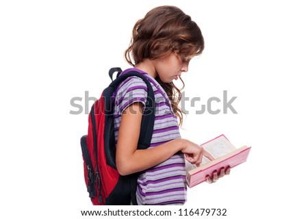 pretty girl reading the book. studio shot over white background - stock photo