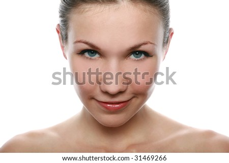 Pretty girl's portrait isolated on white - stock photo