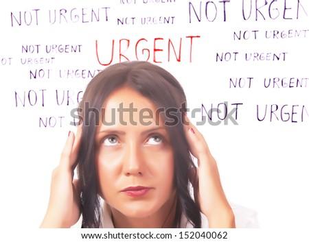 pretty girl thinking  - stock photo