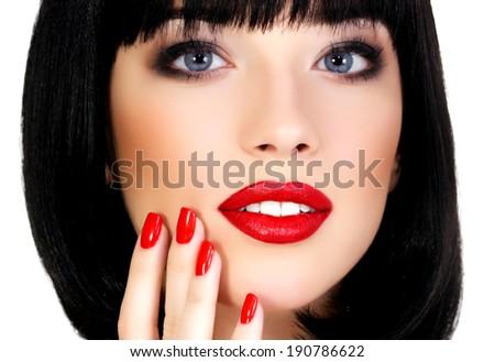 Pretty girl, white background, copyspace - stock photo