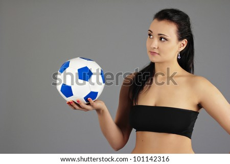 pretty girl with a Ball, Football - stock photo