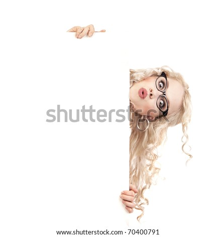 Pretty girl with a blank presentation board - stock photo