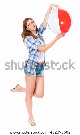 Pretty girl with beach ball, isolated on white background