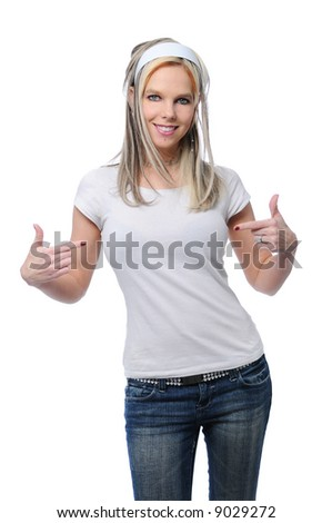 Pretty girl with blank t-shirt- place your logo on it - stock photo